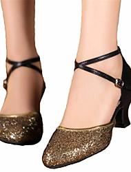 Women's Dance Shoes Latin Satin Chunky Heel Silver / Gold
