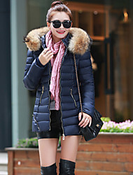 Women's Popular Lady Long Sleeve Slim Zipper Down Coat with Fur Hoodies