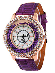 Lady's Leather Band Analog Quartz Beads Case Fashion Watch Jewelry