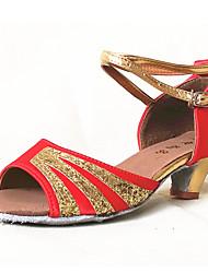 Women's Girl's Dance Shoes Latin / Salsa / Samba Satin / Paillette 4.5CM Heel