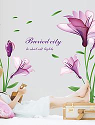 Wall Stickers Wall Decals, Beautiful Purple Magnolia PVC Wall Sticker