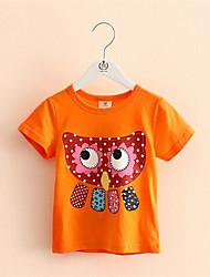 Mädchen T-Shirt-Lässig/Alltäglich Druck Baumwolle Sommer Grün / Orange