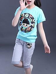 Girl's Blue / Pink Clothing Set,Cartoon Cotton Summer