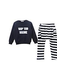 Jersey y Cardigan / Pantalones Chica de-Primavera / Otoño-Algodón-Negro