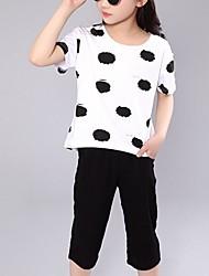 Girl's White Clothing Set,Dot Cotton Summer