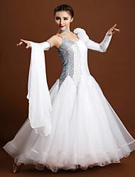 Robes(Noire / Blanc,Elasthanne / Tulle,Danse moderne)Danse moderne- pourFemme Cristaux/Stras / Fleurs Spectacle Chaussures de SportTaille