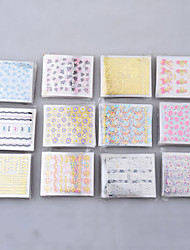50 folhas 3d decalque adesivos coloridos Dicas Nail Art manicure decoração diy