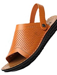 Men's Shoes Office & Career / Athletic / Dress / Casual Nappa Leather Sandals / Flip-Flops Big Size Blue / Brown