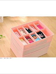 10 Case Underwear Socks Ties Bras Wardrobe Organizer Drawer Pink Storage PP Plastic Box