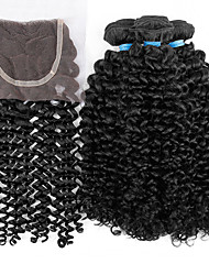 "10-26"" Malaysian virgin hair kinky curly with closure 3pcs/lot Kinky curly weave with closure"