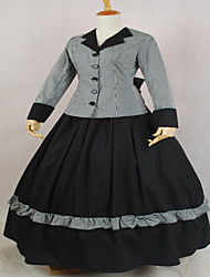 One-Piece/Dress Gothic Lolita Classic/Traditional Lolita Steampunk® Cosplay Lolita Dress Solid Long Sleeve Long Length Dress ForLace