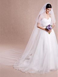 Wedding Veil Two-tier Cathedral Veils Cut Edge Tulle White Ivory