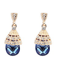 Fashion Jewelry Elegant Women Simulated Gemstone and White Rhinestone Alloy Pierced Drop Earrings