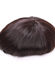"7""*9""Men's Toupee Full Lace Human Hair Wigs Human Medium Length Hair Styles For Fine Hair Men Hair Toupee"