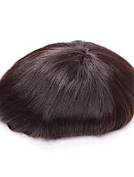 """7 """"* 9"""" мужской тупею полный шнурок человеческие волосы парики прически человека со средней длиной для тонких волос мужчины тупею волос"""