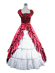 Ärmellose bodenlangen Red and White Satin Aristocrat Lolita Kleid