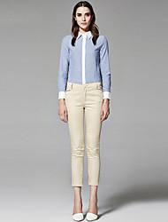 ZigZag® Damen Hemdkragen Lange Ärmel Shirt & Bluse Blau / Weiß / Hellblau - 11442