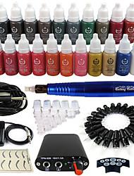 tatouage Solong machine à tatouer rotative& permanente maquillage stylo 50 cartouches d'aiguilles jeu d'encres alimentation pédale