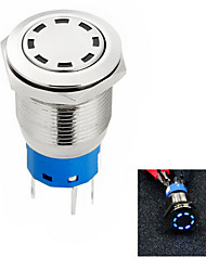Jtron Aperture 19mm Automobile Button Switch OFF-ON / Self-locking White / Blue / Red Light - Silver (12V)
