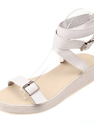 Women's Shoes Leather Platform Platform / Comfort / Ankle Strap Sandals Dress / Casual Black / White / Silver