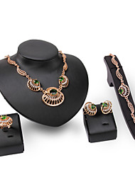 XIXI Women's Vintage 18K Gold Plated Zirconia Cut Out Flower Necklace & Earrings & Bracelet & Ring Jewelry Set
