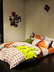 White and orange duvet cover Sets 100% Cotton Bedding Set Queen/Double/Full Size
