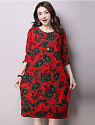 De las mujeres Vaina Vestido Vintage Estampado Midi Escote Redondo Lino