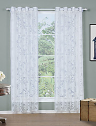 Two Panels Modern Solid White Living Room Polyester Sheer Curtains Shades 140cm Per Panel