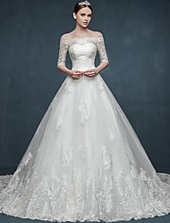 Ball Gown Wedding Dress-White Chapel Train Off-the-shoulder Tulle