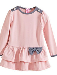 Bow O Neck Long Sleeve Girls Dress