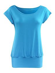 Damen Solide Street Schick Lässig/Alltäglich T-shirt,Rundhalsausschnitt Sommer Kurzarm Blau / Rot / Schwarz Polyester Dünn