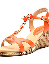 Aokang® Women's Beaded Wedge Heel Leather Sandals(orange)