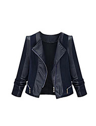Women's Color Block Black Jackets,Vintage Shirt Collar Long Sleeve