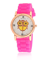 Women's Cute Casual Cartoon Owl Pattern Silicone Watch Quartz Watch Cool Watches Unique Watches