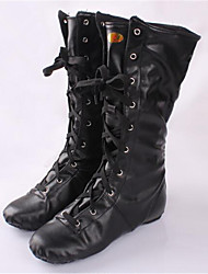 Women's Jazz Leather Boots Practice Low Heel Black Non Customizable