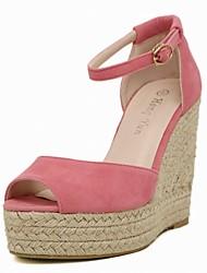 Черный / Розовый-Женская обувь-Для офиса / Для праздника / На каждый день / Для вечеринки / ужина-Дерматин-На танкетке-На танкетке / С