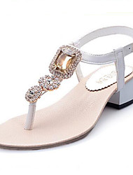 Women's Shoes Gem Rhinestone Toepost Patent Leather Chunky Heel Comfort / Round Toe Sandals Dress / Casual