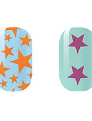 оранжевый / фиолетовый звезда наклейки полые ногтей