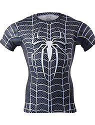 Arsuxeo Men's Short Sleeve Base Layer Running Fitness Shirts Compression Jersey Spider-Man