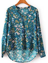 Women's Print Blue / White Blouse,V Neck Long Sleeve