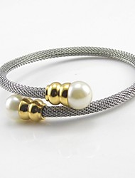 Net Wire Stainless Steel Pearl Clasp Bangle Adjustable