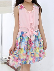 Girl's Blue / Pink / Yellow Dress,Floral Cotton / Nylon Summer