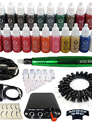 Solong Tattoo Rotary Tattoo Machine & Permanent Makeup Pen 50 Needle Cartridges Ink Set Power Supply Foot Pedal  EK102-5