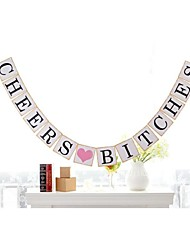 Vintage Cheers Bitches Bridal Hen Party Banner Bunting Bachelorette Party Decoration