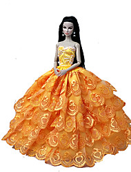 Mariage Robes Pour Poupée Barbie Orange Robes Pour Fille de Doll Toy