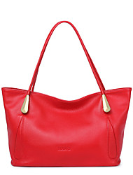 NAWO Women Cowhide Shoulder Bag Red-N154071