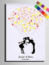 E-HOME® Personalized Fingerprint Painting Canvas Prints - Kiss under the balloon (Includes 12 Ink FColors)