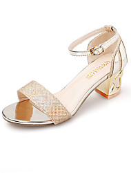 Women's Shoes Chunky Heel Heels / Comfort / Open Toe Sandals Party & Evening / Dress / Casual Silver / Gold