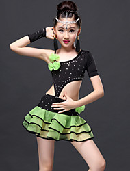 Latin Dance Outfits Children's Performance Viscose Draped 3 Pieces Top Skirt Gloves