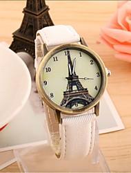 La montre montre de mode tour eiffel cowboy ceinture de toile de quartz de couple (couleurs assorties)